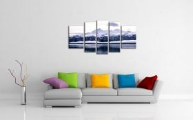 Canvas Wall Art Ice Age, Glowing in the dark, Set of 5, 90 x 180 cm (1 panel 30 x 90 cm, 2 panels 30 x 80 cm, 2 panels 40 x 60 cm)
