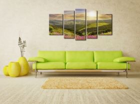 Canvas Wall Art Sun and rainbow, Glowing in the dark, Set of 5, 90 x 180 cm (1 panel 30 x 90 cm, 2 panels 30 x 80 cm, 2 panels 40 x 60 cm)