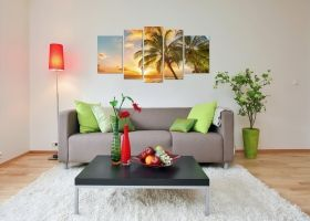 Canvas Wall Art Palm on the beach, Glowing in the dark, Set of 5, 90 x 180 cm (1 panel 30 x 90 cm, 2 panels 30 x 80 cm, 2 panels 40 x 60 cm)