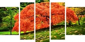 Canvas Wall Art Red Tree in the Forest, Glowing in the dark, Set of 5, 90 x 180 cm (1 panel 30 x 90 cm, 2 panels 30 x 80 cm, 2 panels 40 x 60 cm)