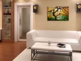 Glass Wall Art Autumn maple, Glowing in the dark, 60 x 90 cm