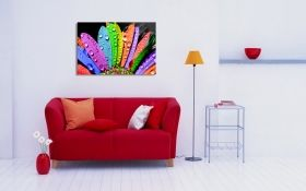 Glass Wall Art Colorful petals, Glowing in the dark, 60 x 90 cm