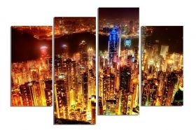 Glass Wall Art Hong Kong, Glowing in the dark, Set of 4, 100 x 120 cm (2 panels 30 x 90 cm, 2 panels 30 x 80 cm)