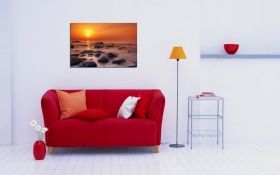 Glass Wall Art Sunset at shore, Glowing in the dark, 60 x 90 cm