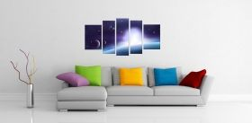 Glass Wall Art Universe, Glowing in the dark, Set of 5, 90 x 180 cm (1 panel 30 x 90 cm, 2 panels 30 x 80 cm, 2 panels 40 x 60 cm)