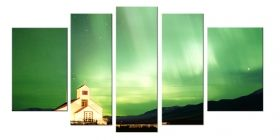 Glass Wall Art Aurora Borealis, Glowing in the dark, Set of 5, 90 x 180 cm (1 panel 30 x 90 cm, 2 panels 30 x 80 cm, 2 panels 40 x 60 cm)