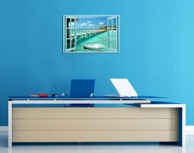 Glass Wall Art The window to the aquatic paradise, Glowing in the dark, 60 x 90 cm
