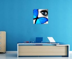 Glass Wall Art Butterfly eye, Glowing in the dark, 60 x 60 cm
