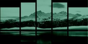 Glass Wall Art Ice Age, Glowing in the dark, Set of 5, 90 x 180 cm (1 panel 30 x 90 cm, 2 panels 30 x 80 cm, 2 panels 40 x 60 cm)