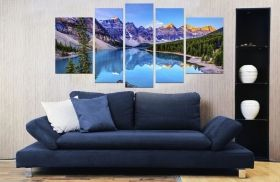 Glass Wall Art Mountain lake, Glowing in the dark, Set of 5, 90 x 180 cm (1 panel 30 x 90 cm, 2 panels 30 x 80 cm, 2 panels 40 x 60 cm)