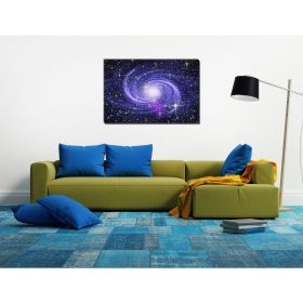 Tablou Galaxia albastra, luminos in intuneric, 80 x 120 cm