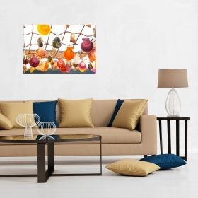 Canvas Wall Art Colorful shells, Glowing in the dark, 80 x 120 cm