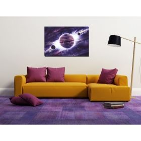 Tablou Univers violet, luminos in intuneric, 80 x 120 cm