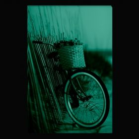 Canvas Wall Art Red Bicycle, Glowing in the dark, 80 x 120 cm