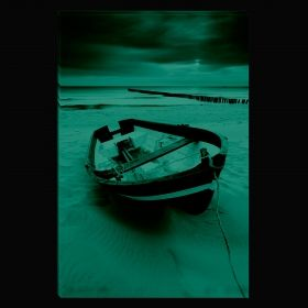 Canvas Wall Art Fishing boat, Glowing in the dark, 80 x 120 cm