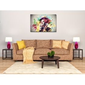 Canvas Wall Art Clown and music, Glowing in the dark, 80 x 120 cm