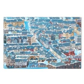 Canvas Wall Art The city under the snow, Glowing in the dark, 80 x 120 cm