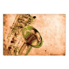 Canvas Wall Art Saxophone, Glowing in the dark, 60 x 90 cm