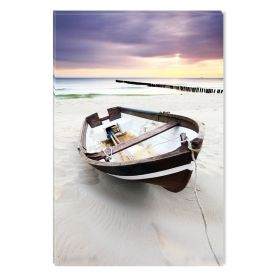 Canvas Wall Art Fishing boat, Glowing in the dark, 60 x 90 cm