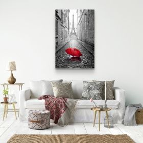Canvas Wall Art Black and White Love Red Umbrellas Paris and Couple in the Rain Buy one Get Two Bundle Offer